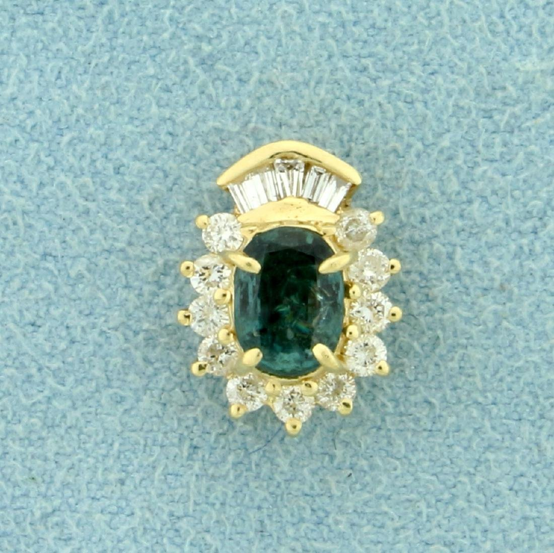 Natural Alexandrite and Diamond Pendant in 14K Yellow