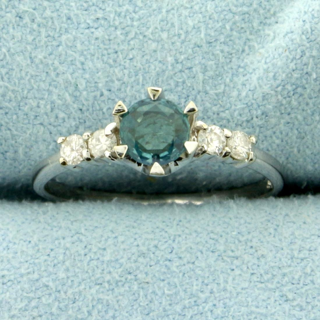Natural Alexandrite and Diamond Ring in 14K White Gold