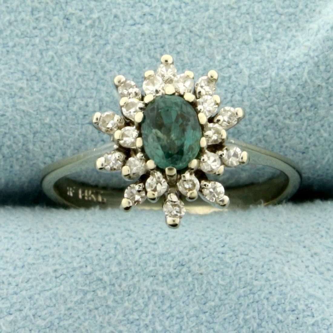 Natural Alexandrite and Diamond Starburst Ring in 14K