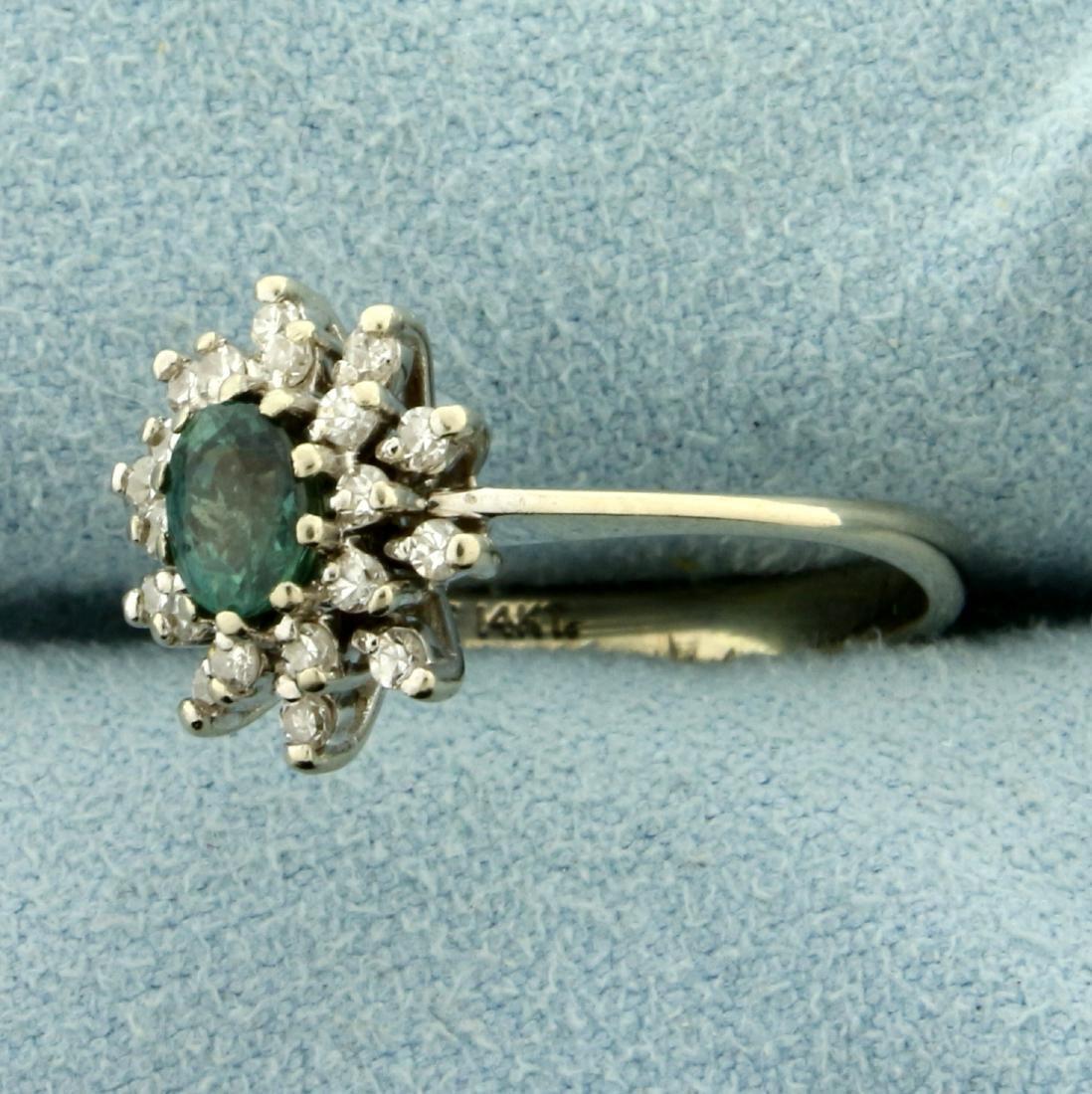 Natural Alexandrite and Diamond Starburst Ring in 14K - 2