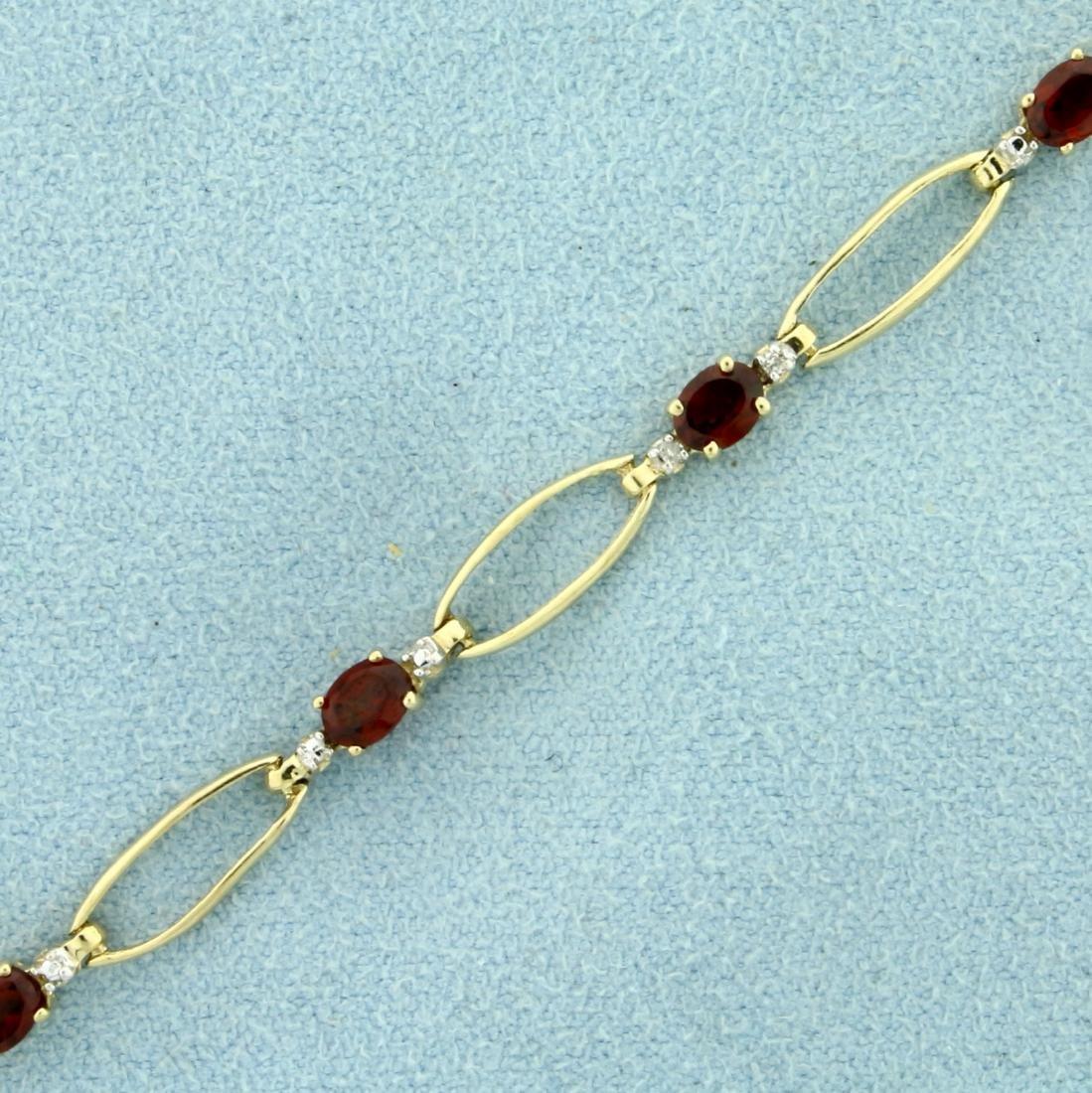 Garnet and Diamond Bracelet in 10K Yellow Gold - 2
