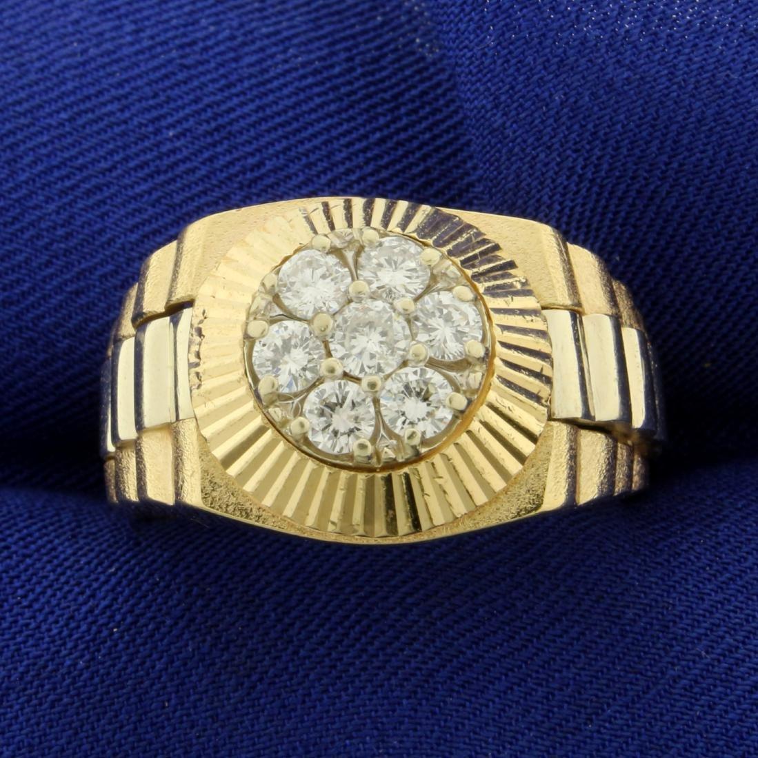 1ct TW Men's Diamond Ring in 14K Yellow Gold