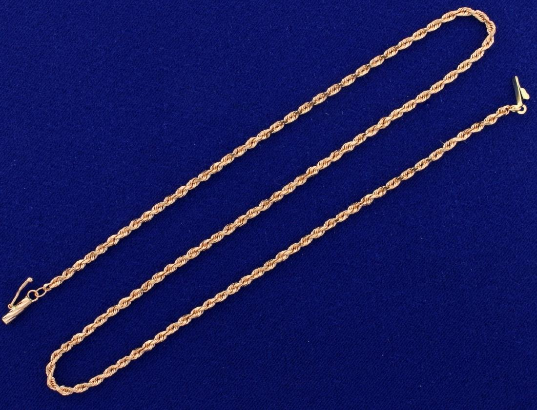 16 Inch Rope Neck Chain in 14K Rose Gold
