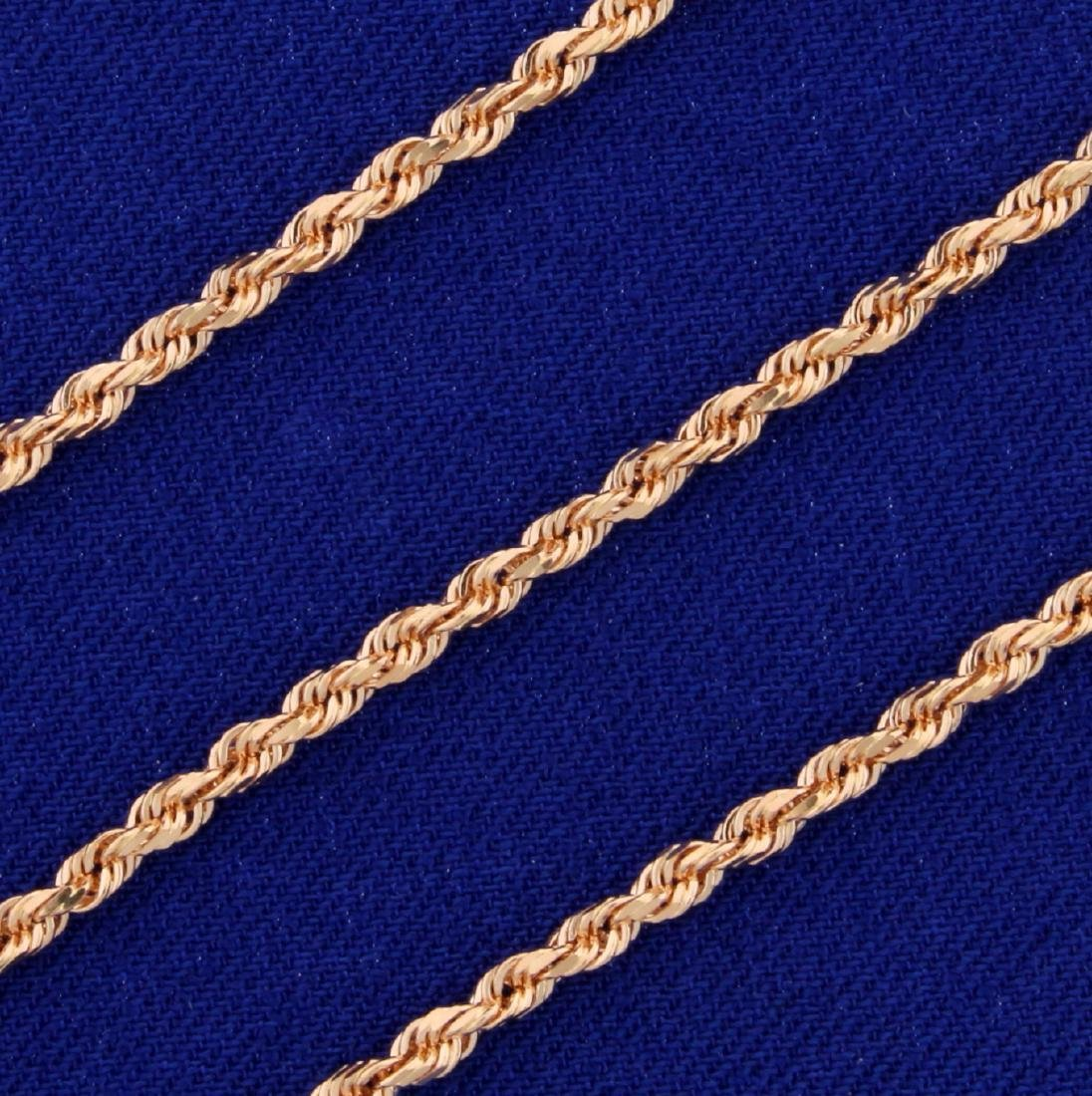 16 Inch Rope Neck Chain in 14K Rose Gold - 2