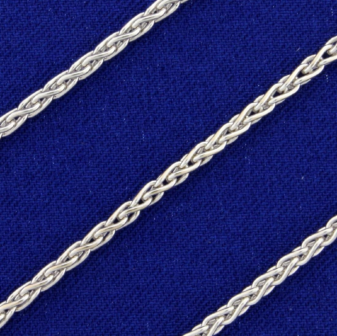 19 Inch Wheat Link Neck Chain in 14K White Gold - 2