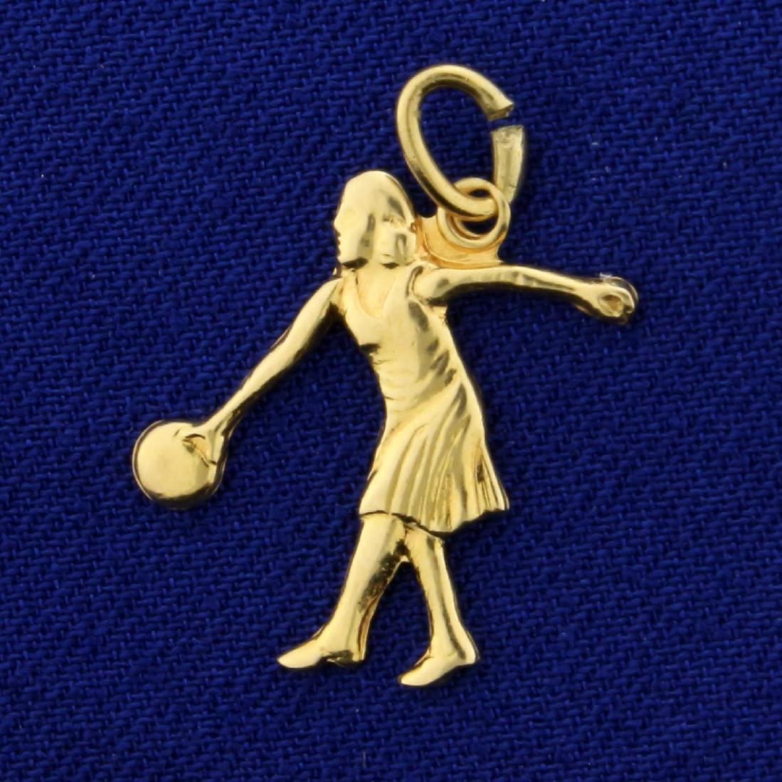 Woman Bowling Charm or Pendant in 14K Yellow Gold