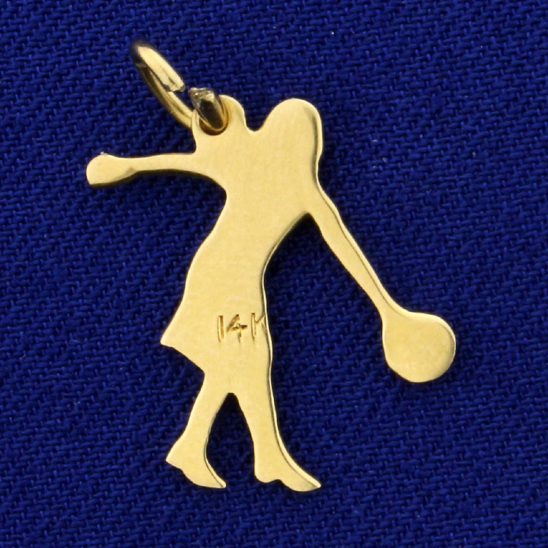 Woman Bowling Charm or Pendant in 14K Yellow Gold - 2
