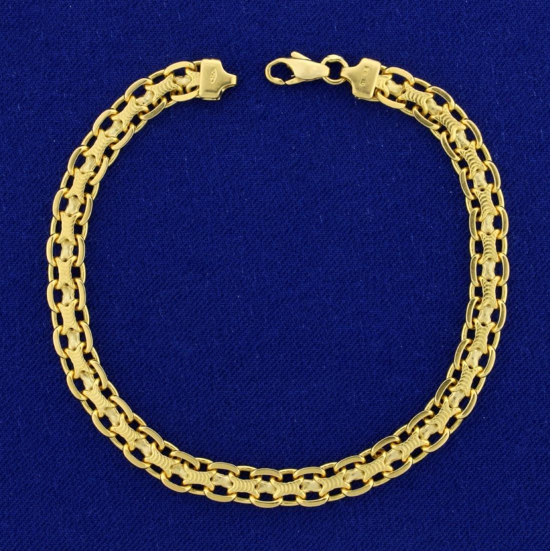 7 1/2 Inch Italian Made Designer Link Bracelet in 18K