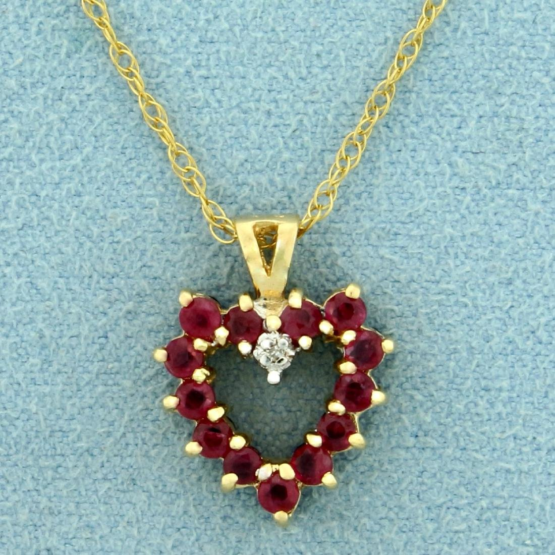 Reversible Ruby and Sapphire Heart Pendant with