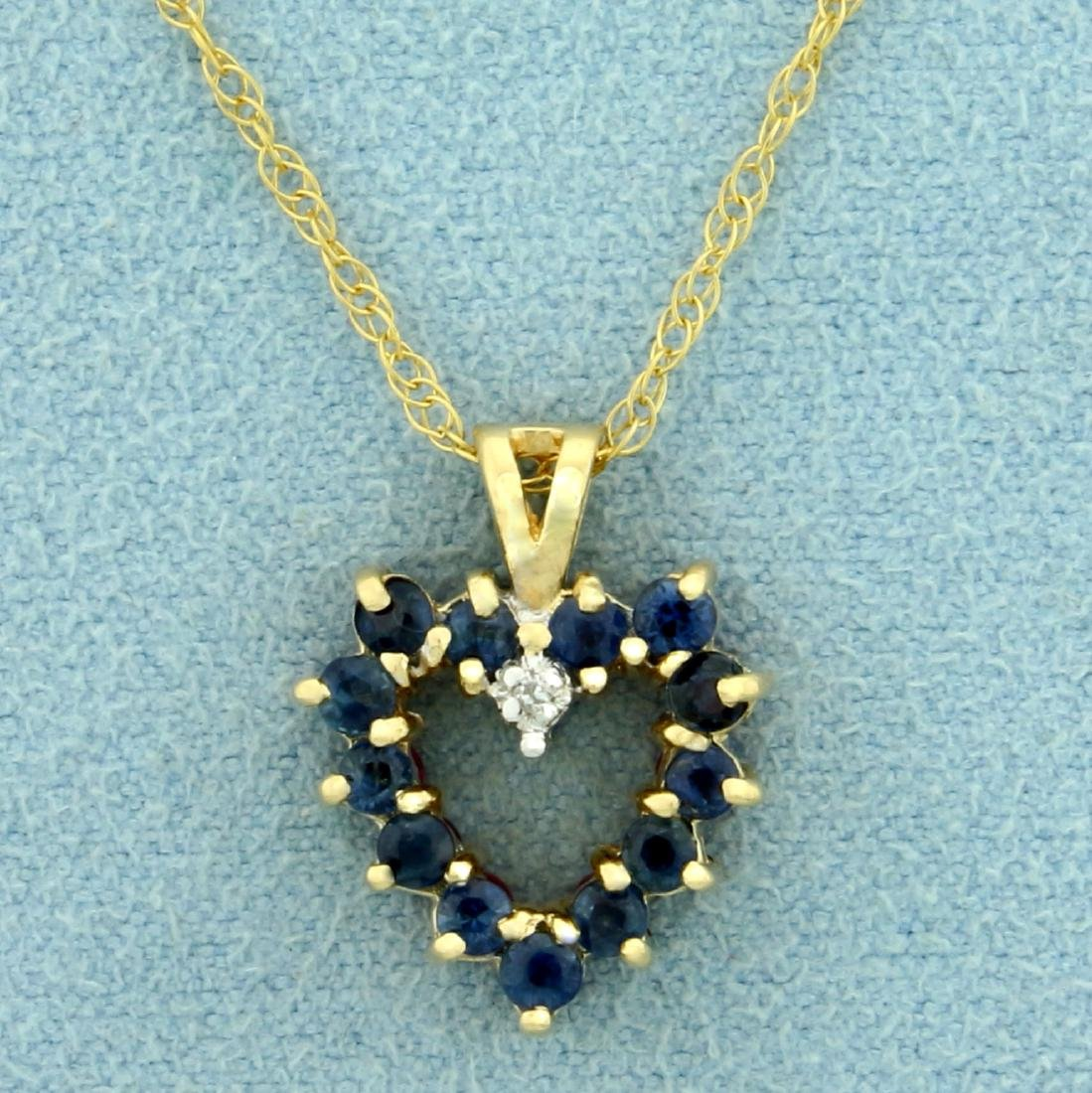 Reversible Ruby and Sapphire Heart Pendant with - 2