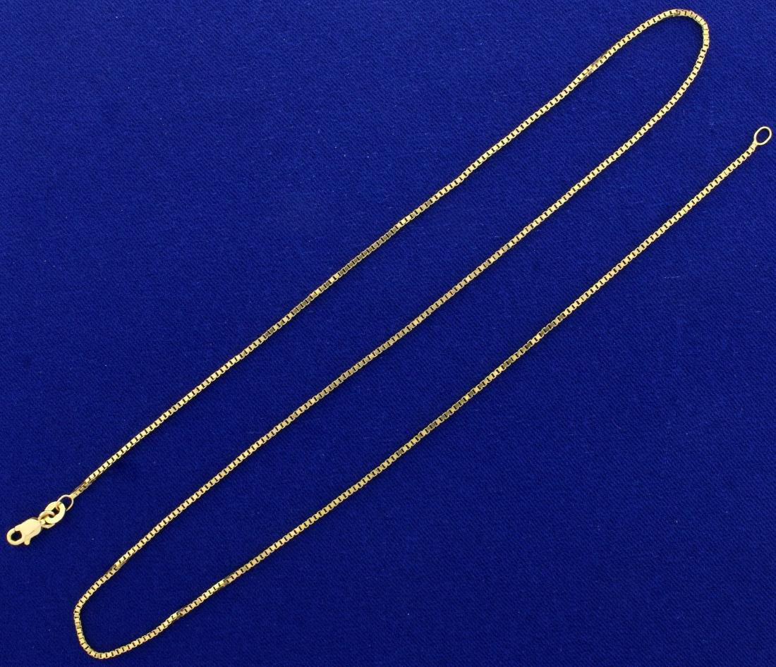 20 1/2 Inch Italian Made Box Neck Chain in 14K Yellow
