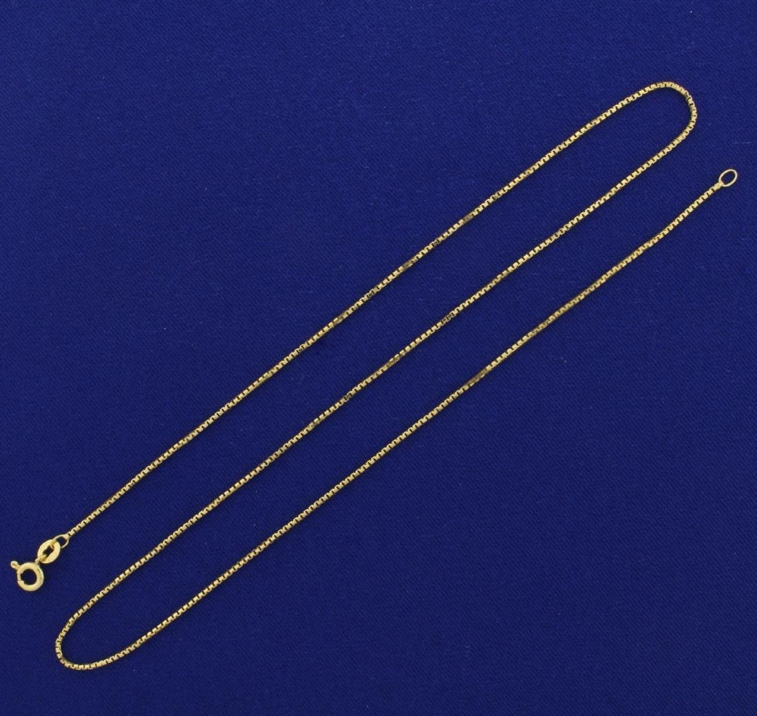 18 1/2 Inch Italian Made Box Neck Chain in 14K Yellow