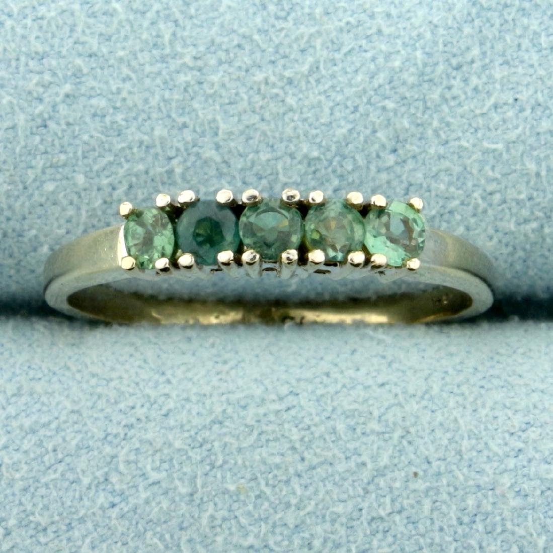 Five Stone Natural Alexandrite Ring in 14K White Gold