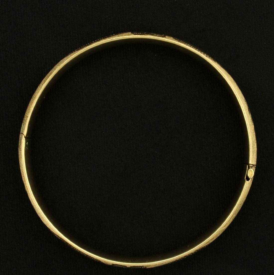 Diamond Cut Floral Design Bangle Bracelet in 14K Yellow - 3