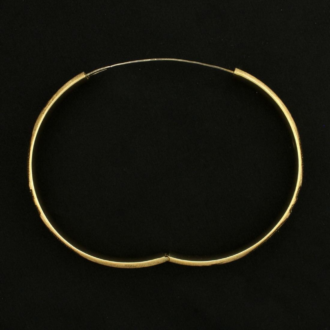 Diamond Cut Floral Design Bangle Bracelet in 14K Yellow - 4