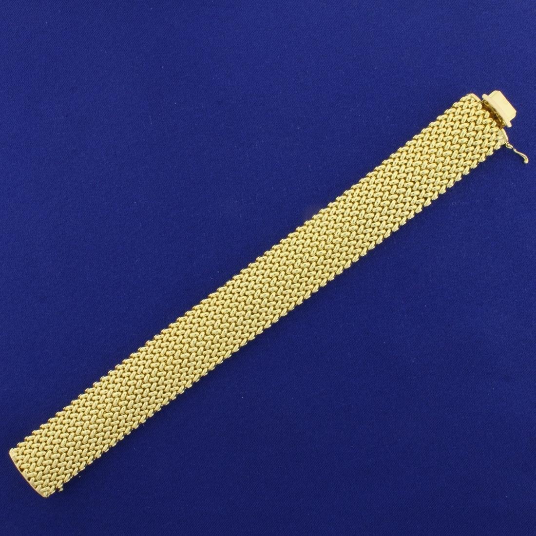 Italian Made Wide Woven Design Gold Bracelet in 14K