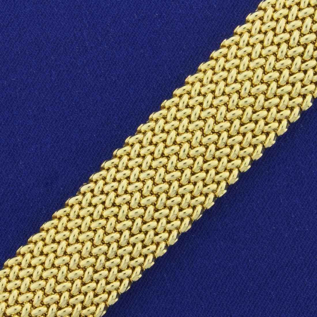 Italian Made Wide Woven Design Gold Bracelet in 14K - 2