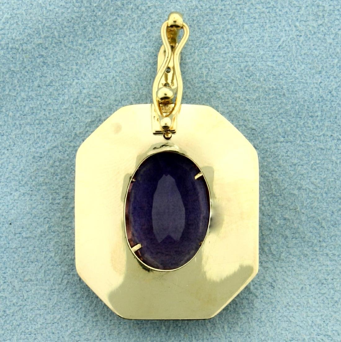 10ct Amethyst Pendant with Diamonds in 14K Yellow Gold - 2