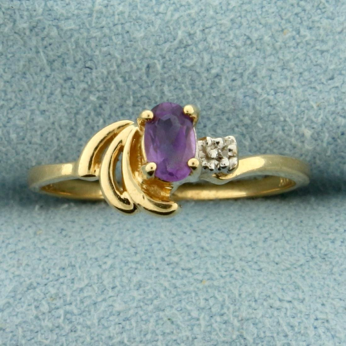 Amethyst and Diamond Ring in 10K Yellow Gold