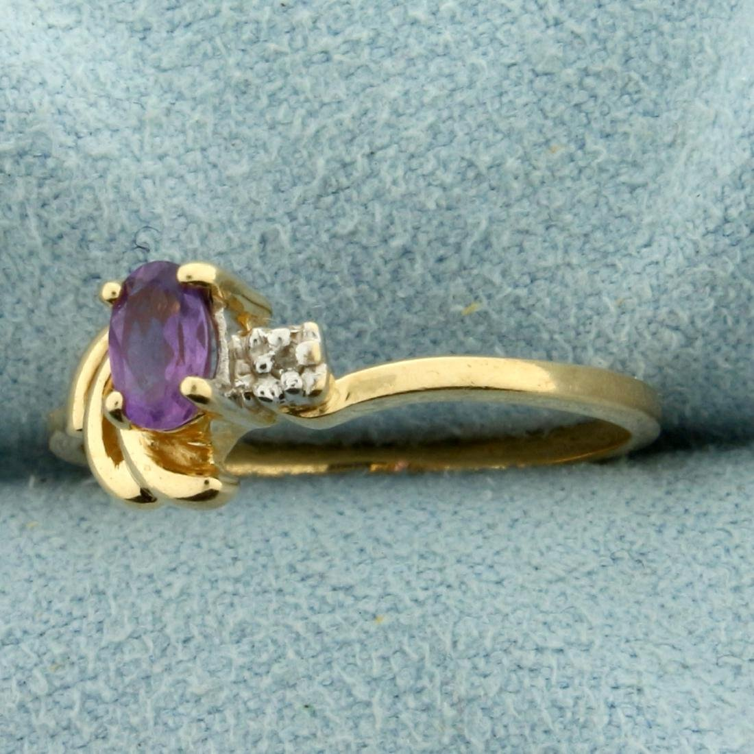 Amethyst and Diamond Ring in 10K Yellow Gold - 2