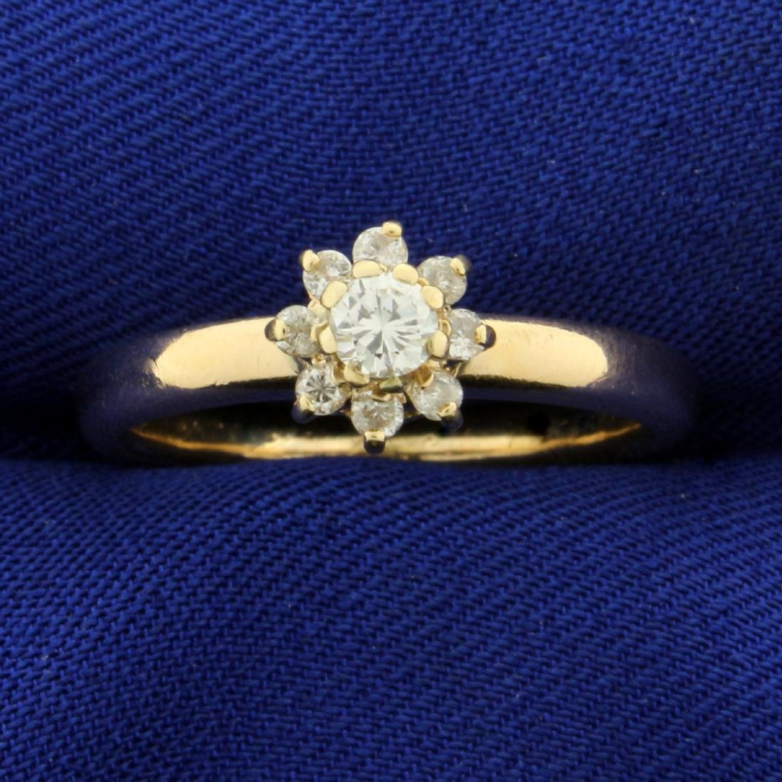 1/3ct TW Diamond Flower Ring in 14K Yellow Gold