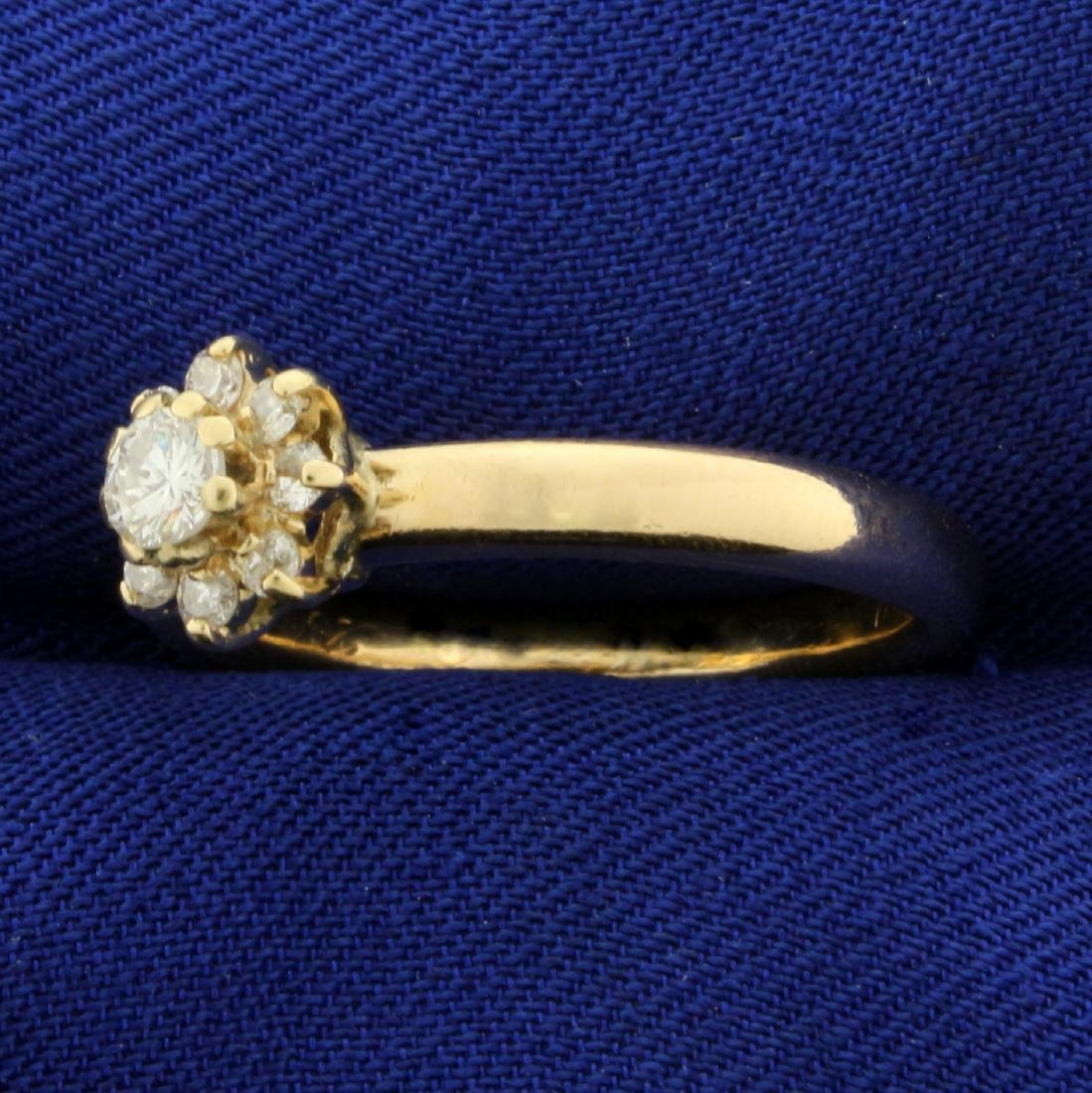 1/3ct TW Diamond Flower Ring in 14K Yellow Gold - 2