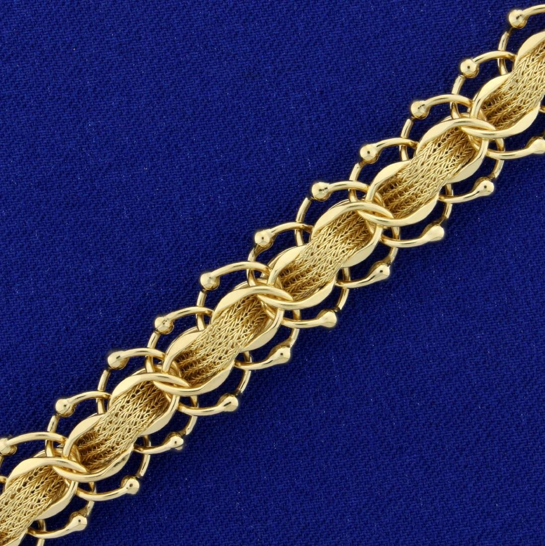 Unique Woven Style Charm Bracelet in 14K Yellow Gold - 2