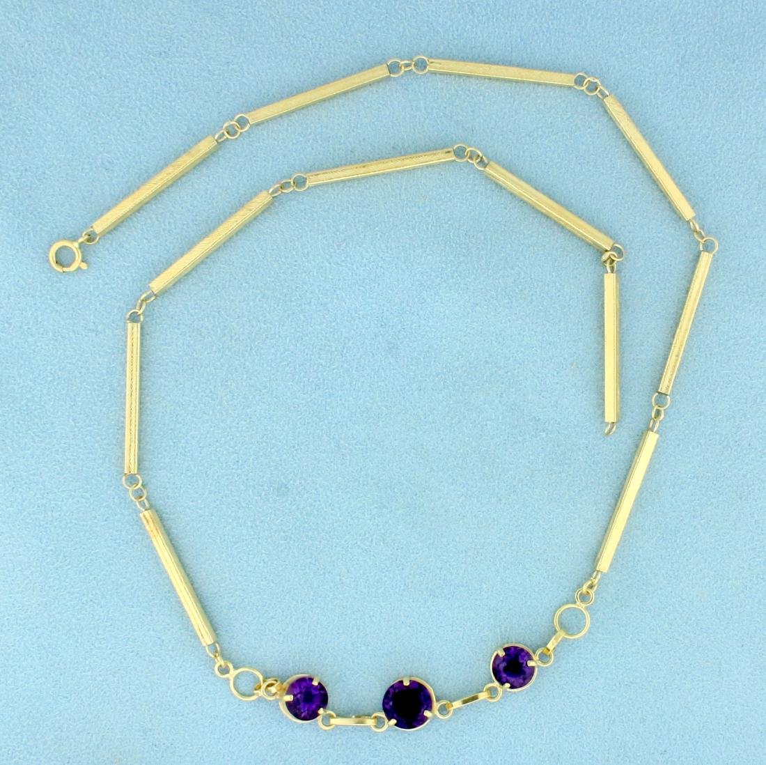 Designer 3 Stone Amethyst Necklace in 14K Yellow Gold