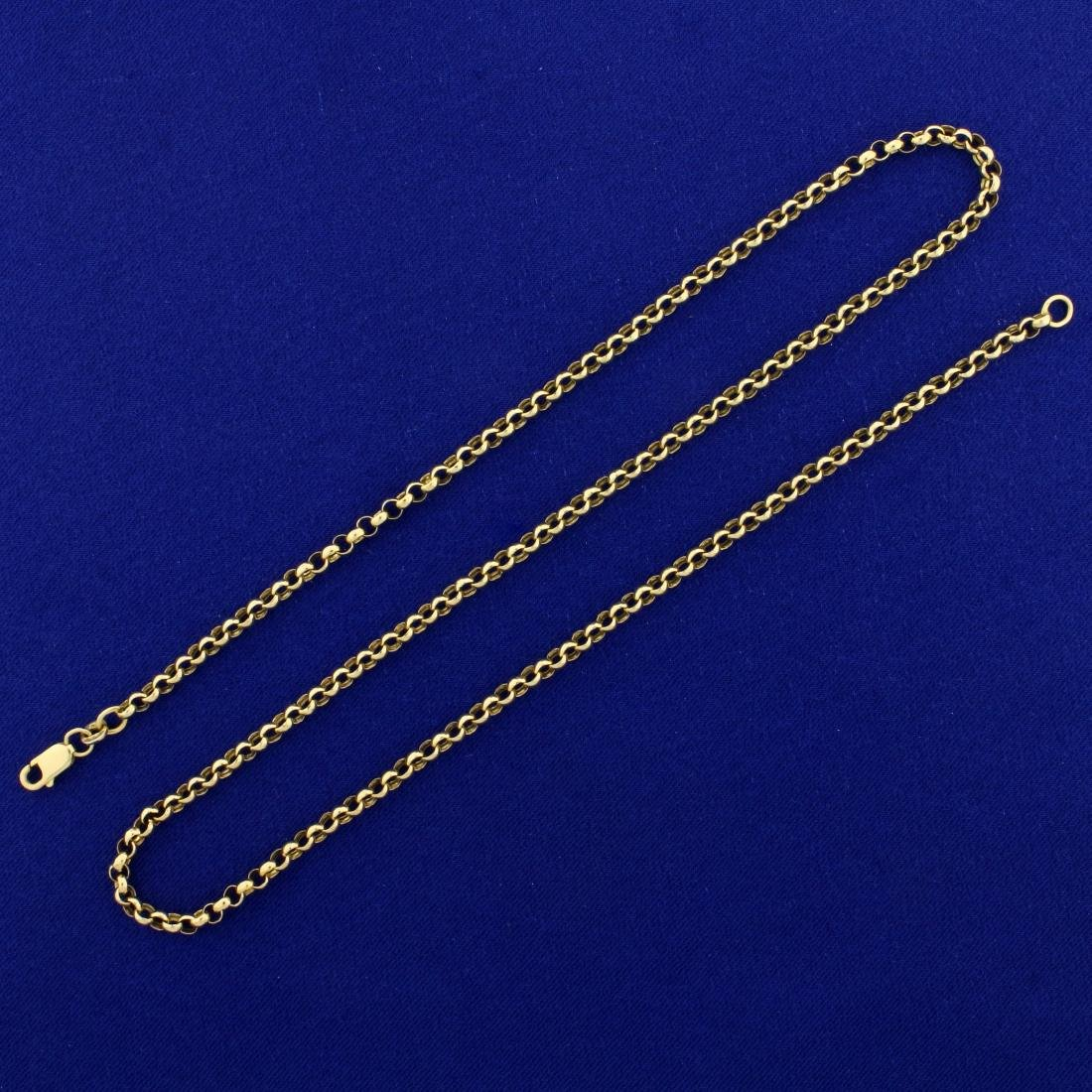 Italian Made 20 Inch Rolo Neck Chain in 14K Yellow Gold