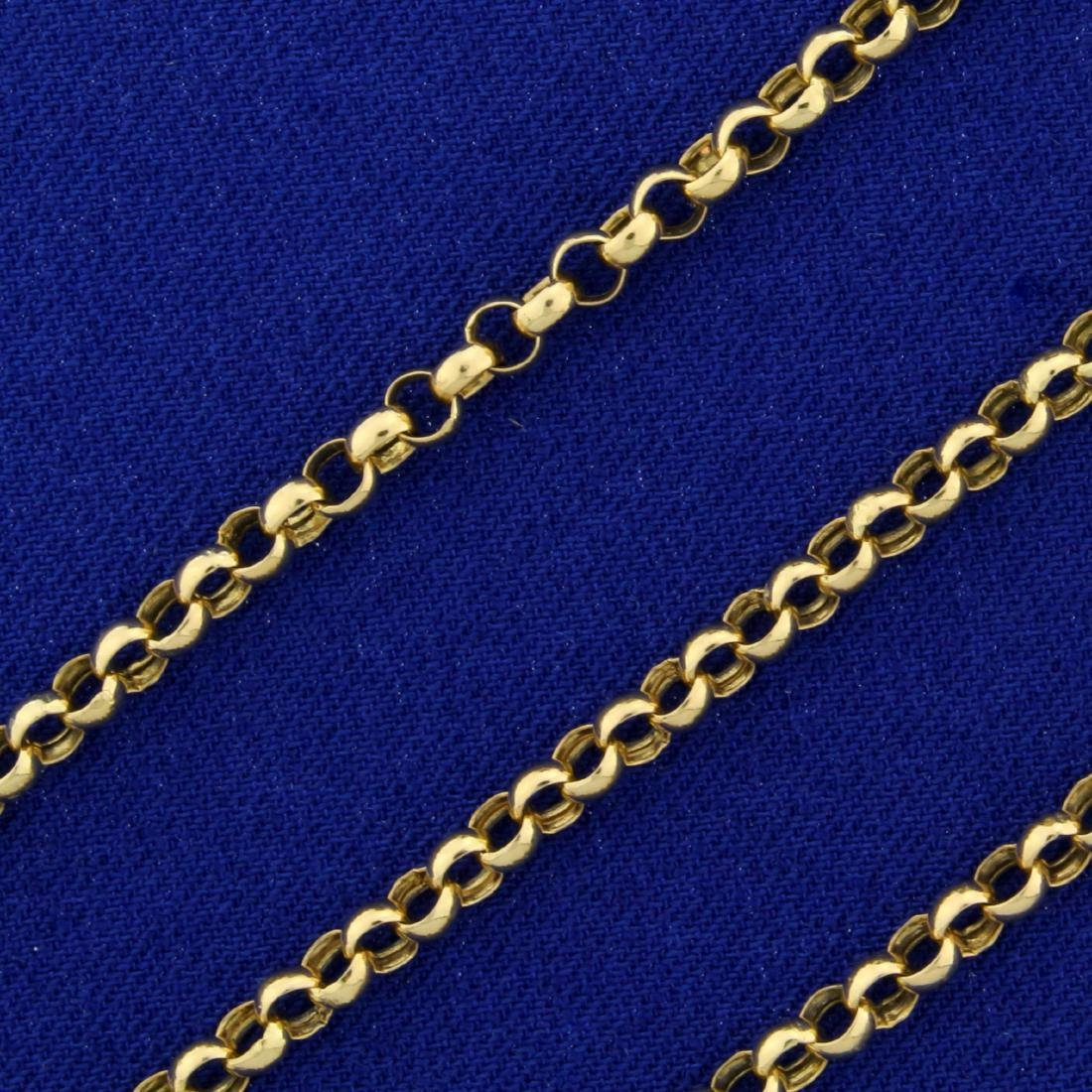 Italian Made 20 Inch Rolo Neck Chain in 14K Yellow Gold - 2