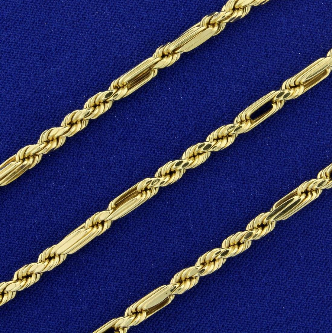 Designer 20 Inch Rope Style Neck Chain in 14K Yellow - 2