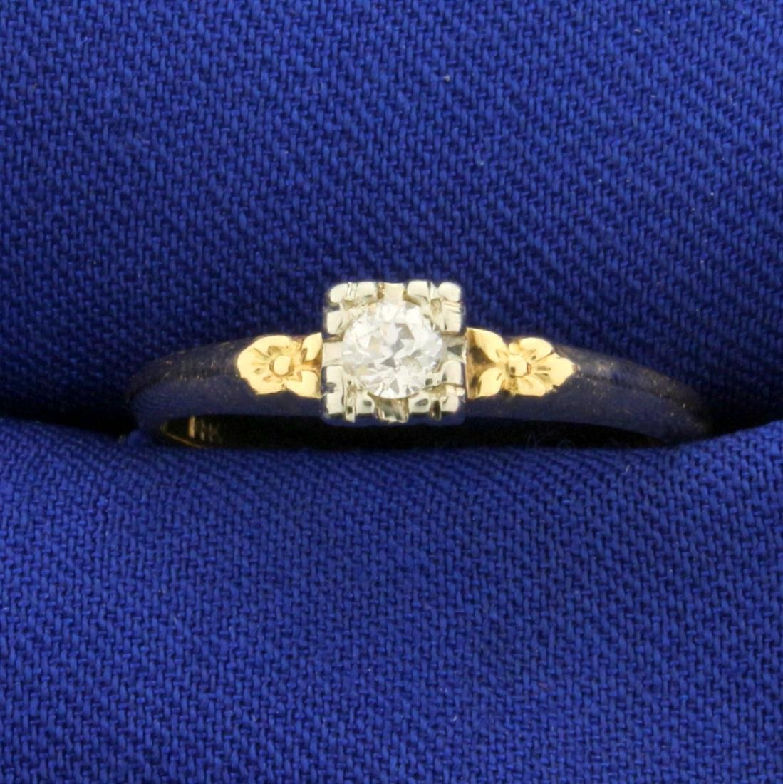 Antique Old European Cut Diamond Solitaire Ring in 14K
