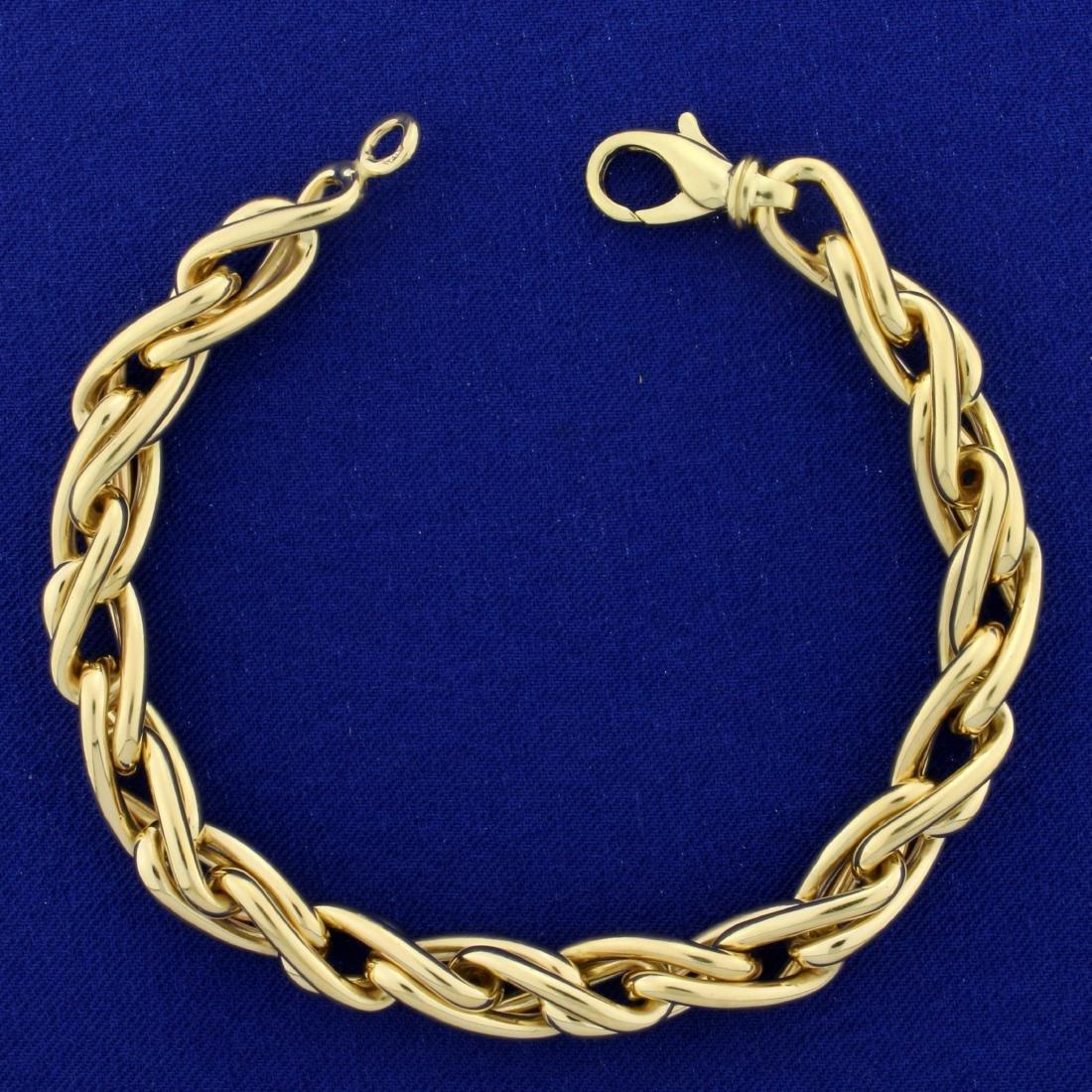 Heavy Italian Made Designer Twisting Link Bracelet in