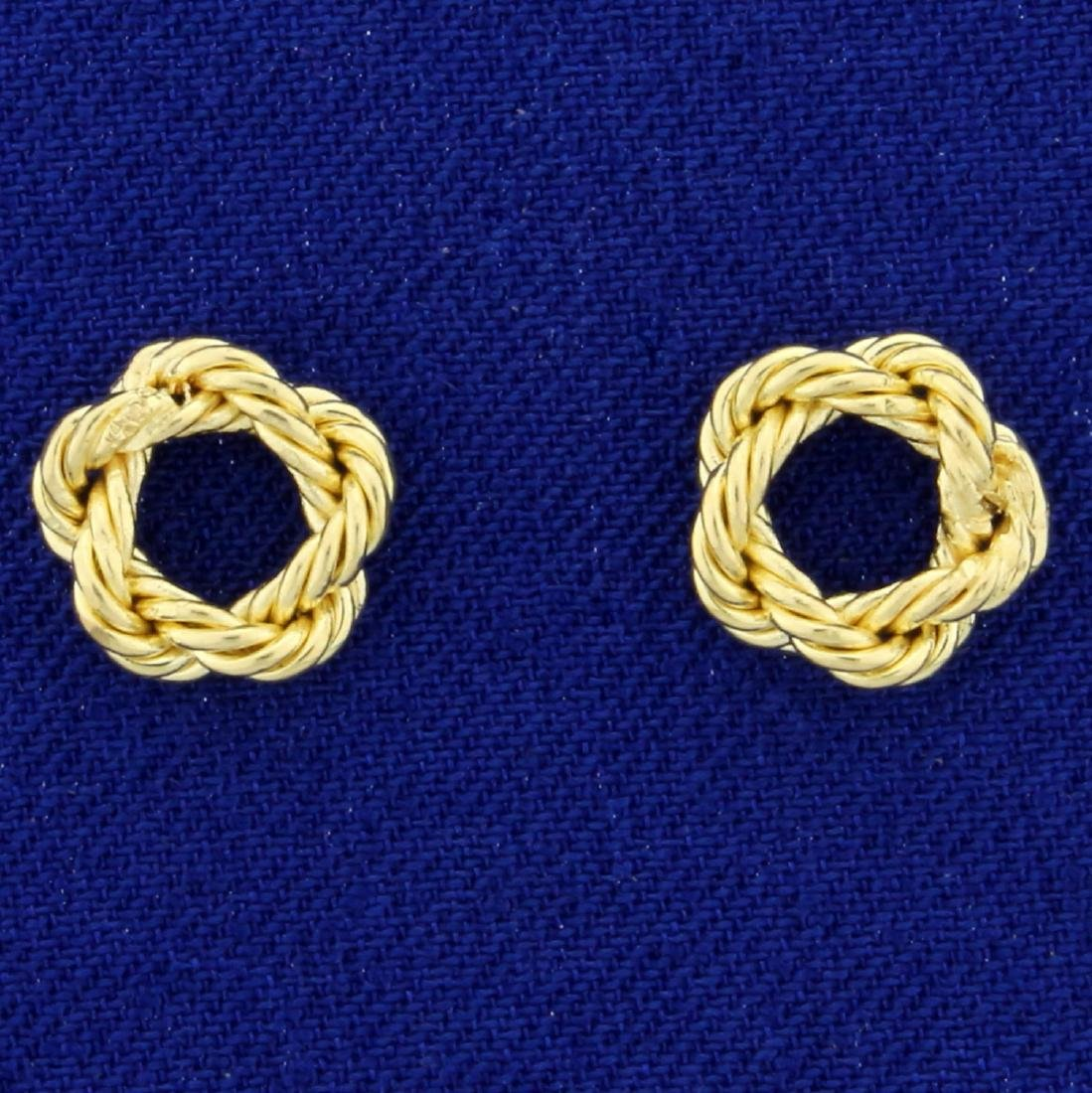 Pair of Love Knot Nautical Rope Charms in 14K Yellow