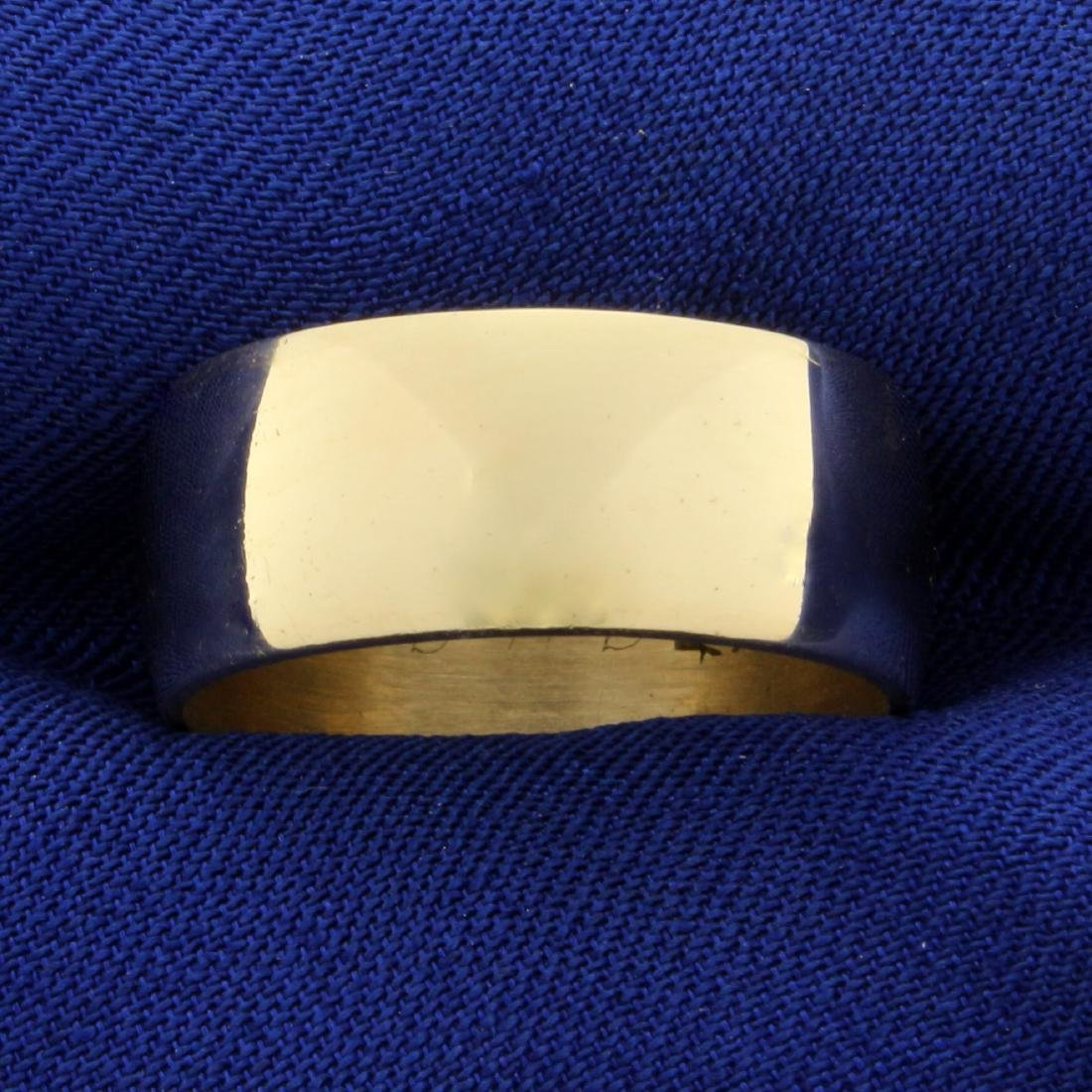 Wide 8.4mm Wedding Band Ring in 14K Yellow Gold
