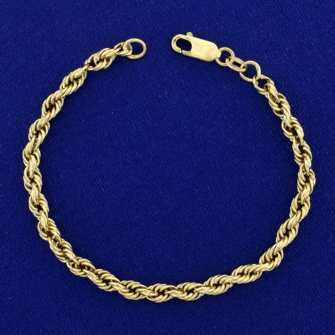 7 Inch Rope Bracelet in 14K Yellow Gold