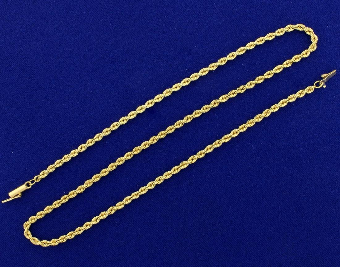 17 1/2 Inch Rope Neck Chain in 14K Yellow Gold