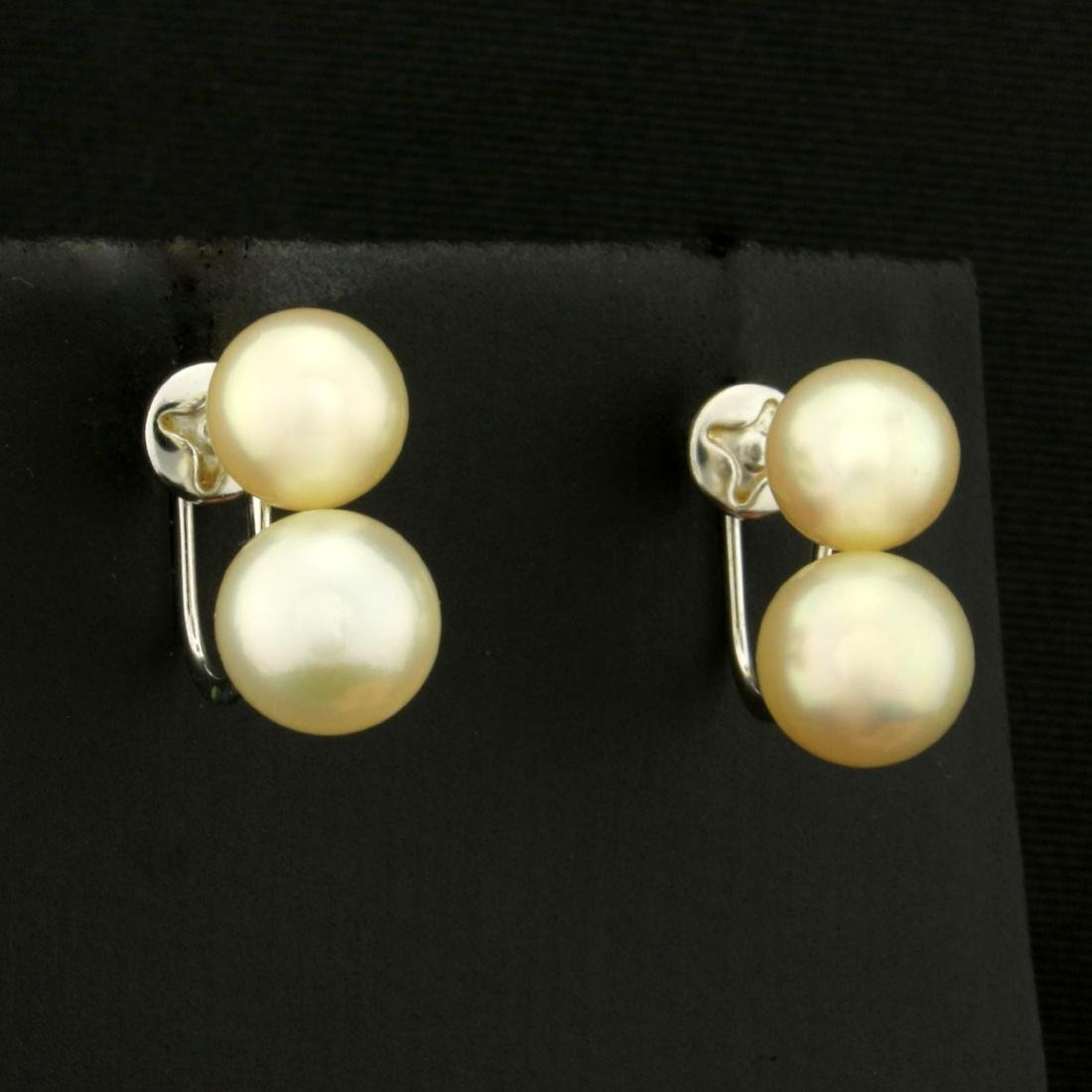 Vintage Screw Back Akoya Pearl Earrings in 14K White