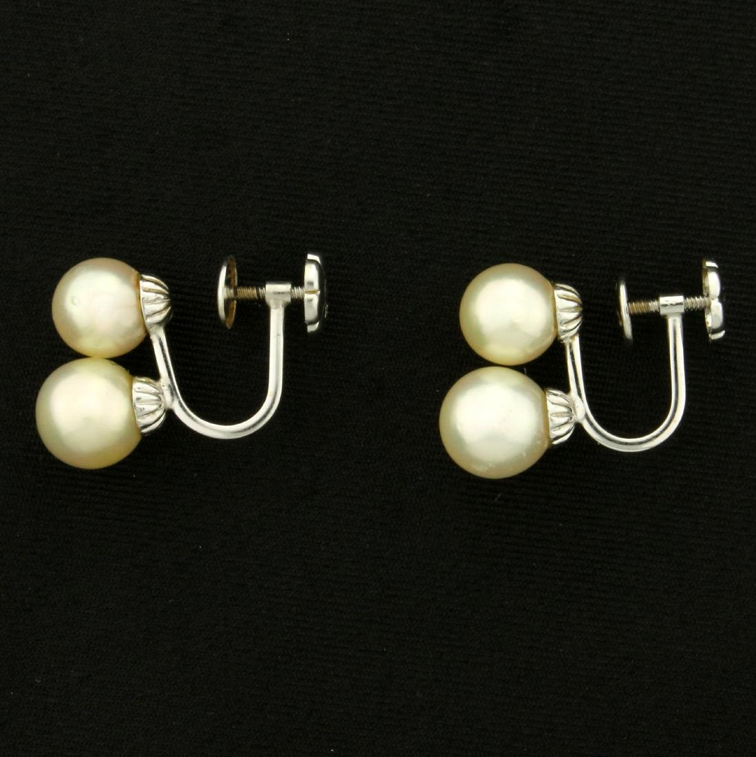 Vintage Screw Back Akoya Pearl Earrings in 14K White - 3