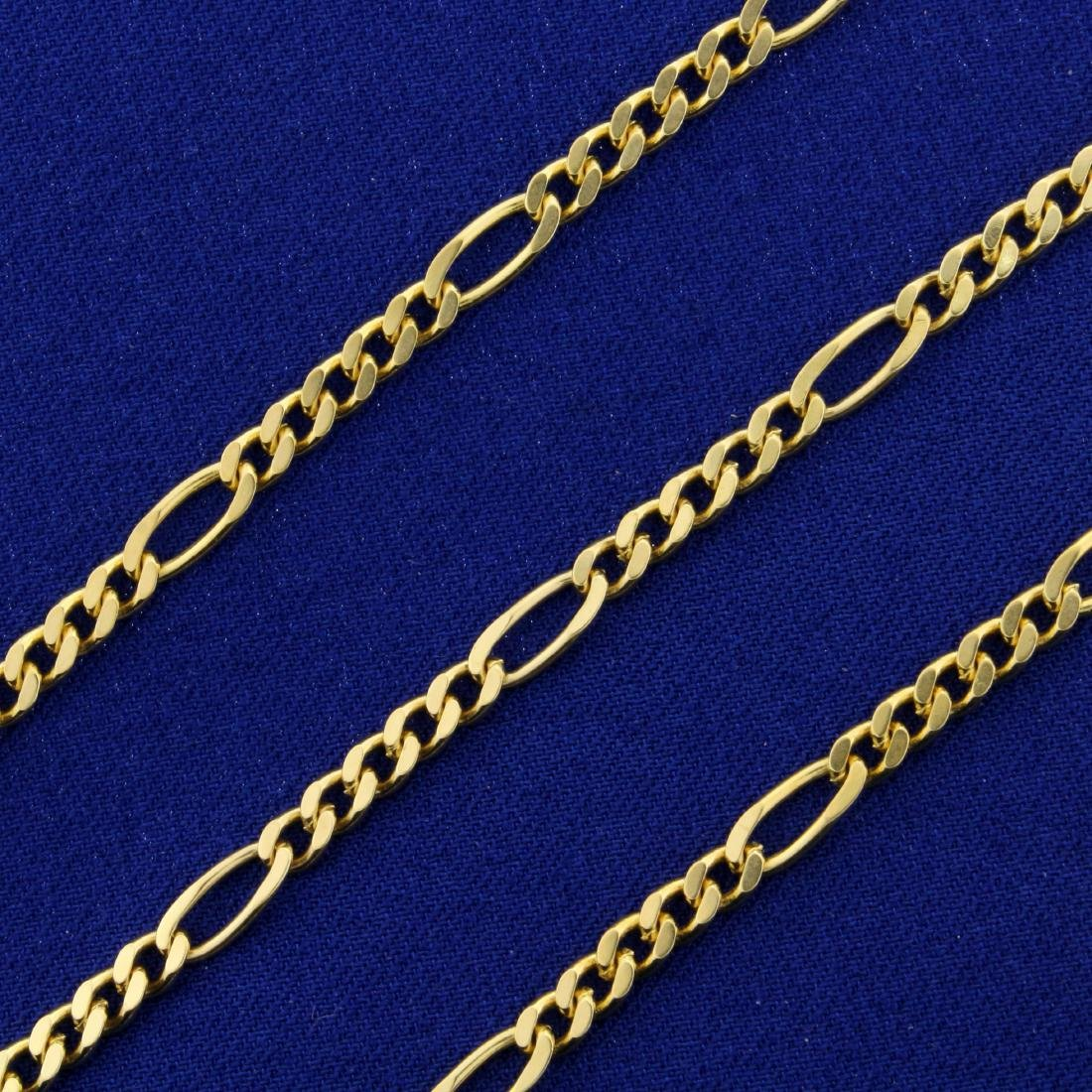 18 Inch Figaro Neck Chain in 14K Yellow Gold - 2