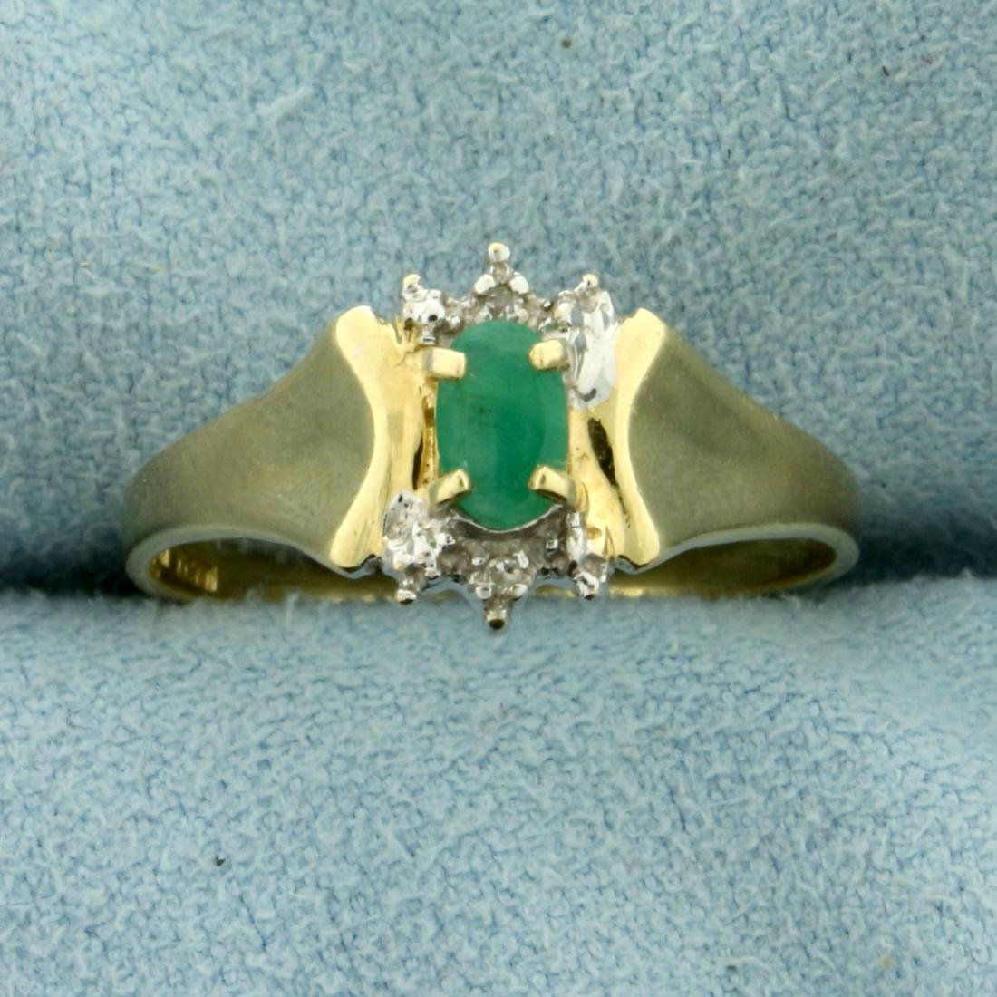 Natural Emerald and Diamond Ring in 10K Yellow Gold