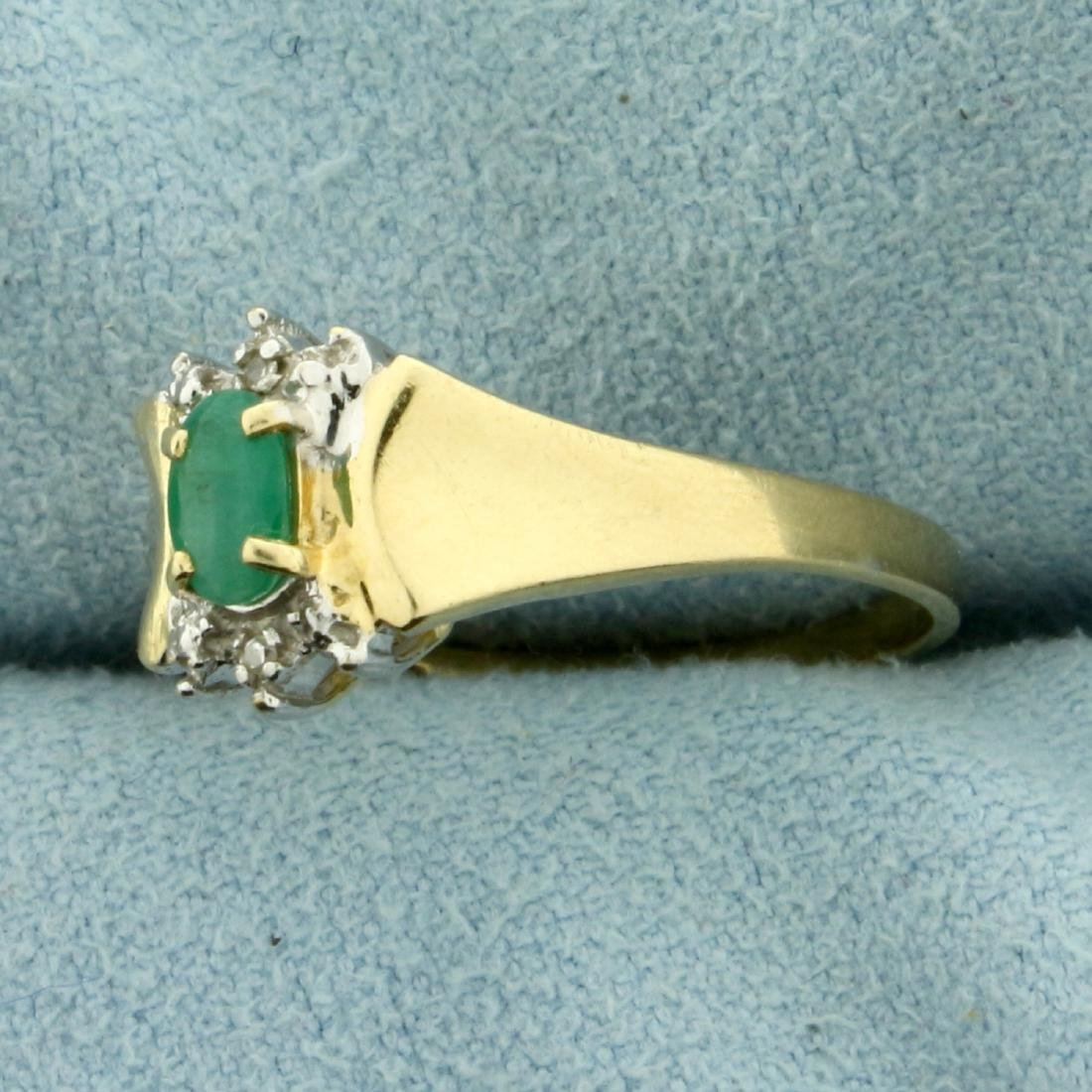 Natural Emerald and Diamond Ring in 10K Yellow Gold - 2