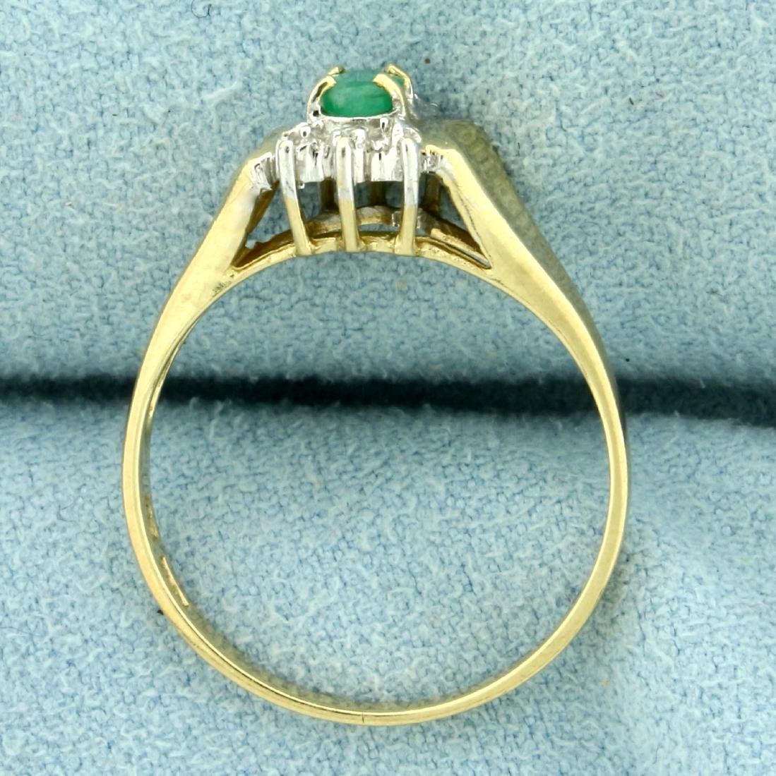 Natural Emerald and Diamond Ring in 10K Yellow Gold - 3