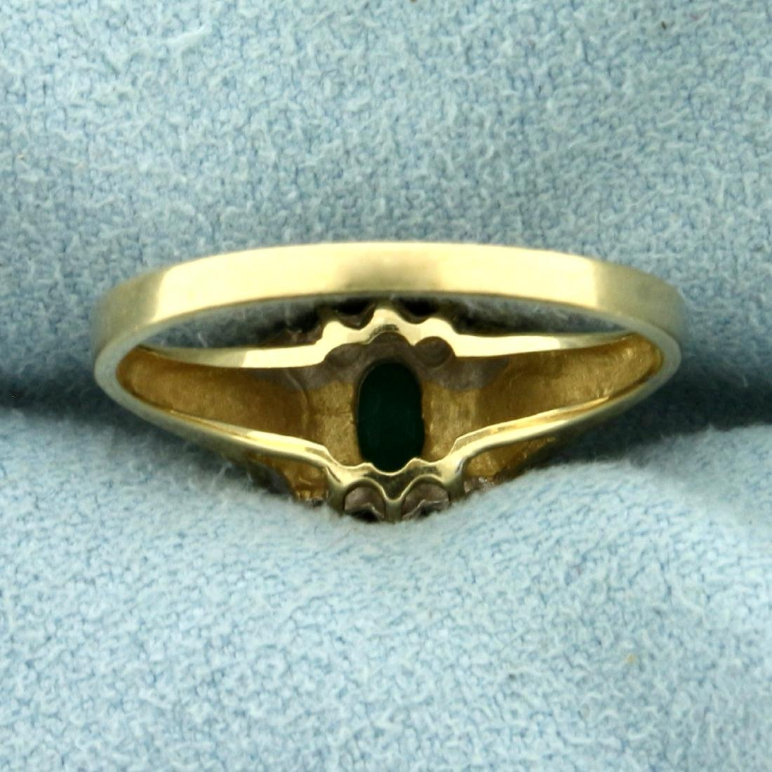 Natural Emerald and Diamond Ring in 10K Yellow Gold - 4