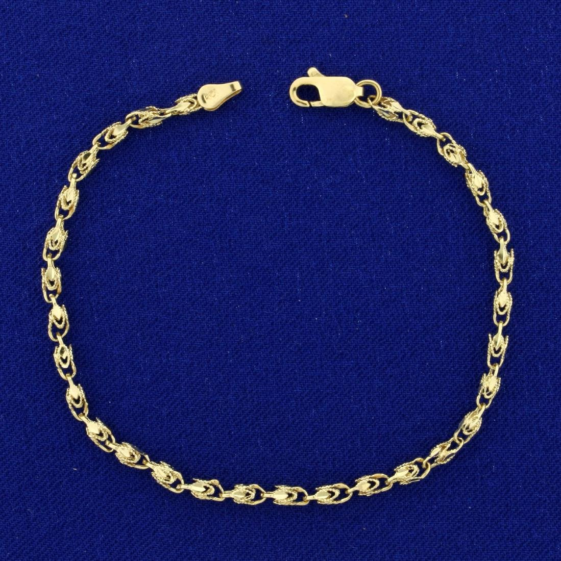 7 Inch Designer Link Bracelet in 10K Yellow Gold