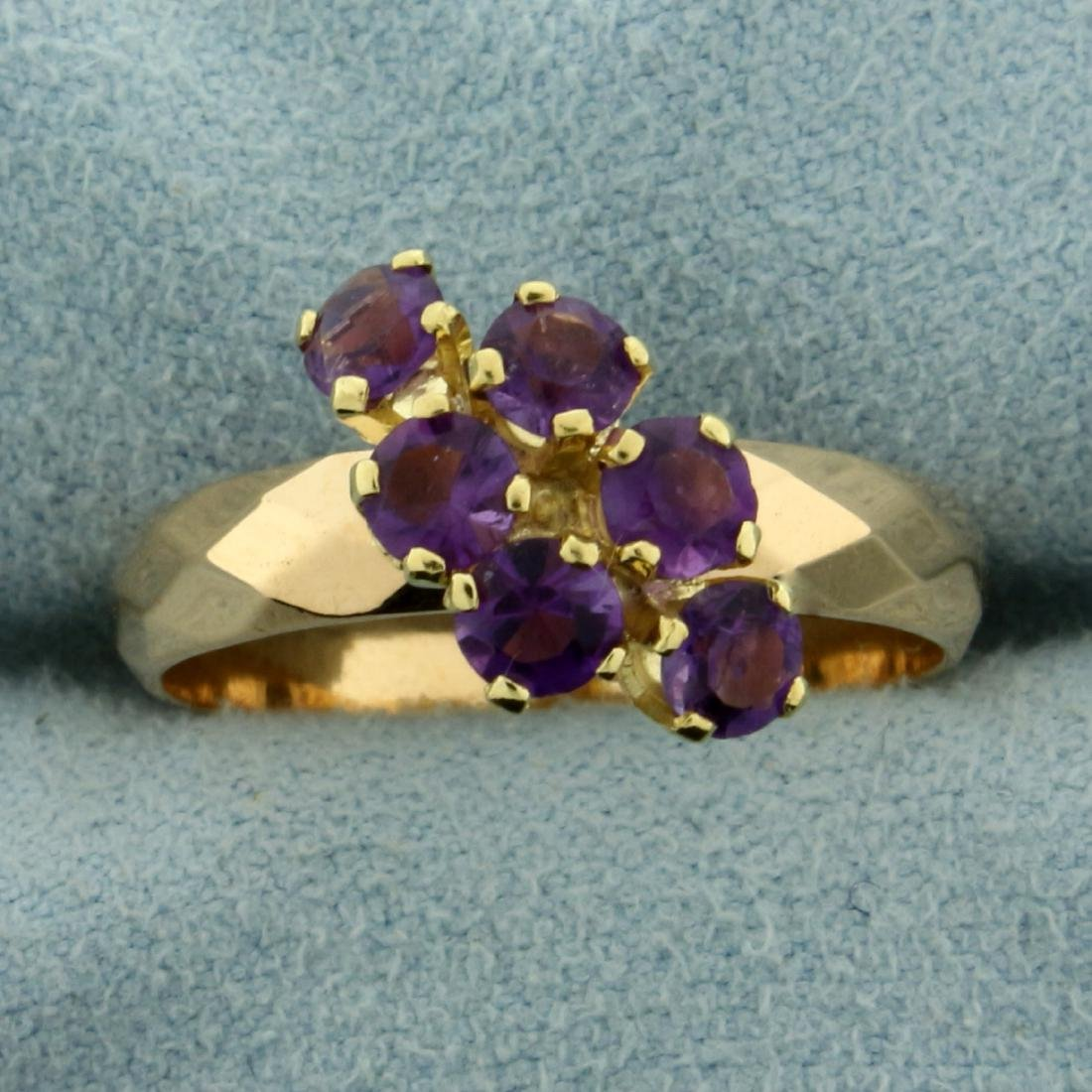 Six Stone Amethyst Ring in 18K Yellow Gold