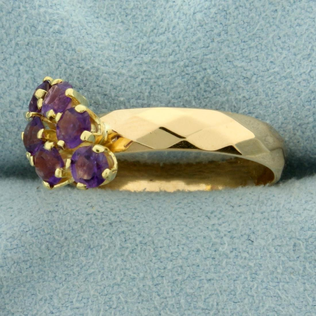 Six Stone Amethyst Ring in 18K Yellow Gold - 2