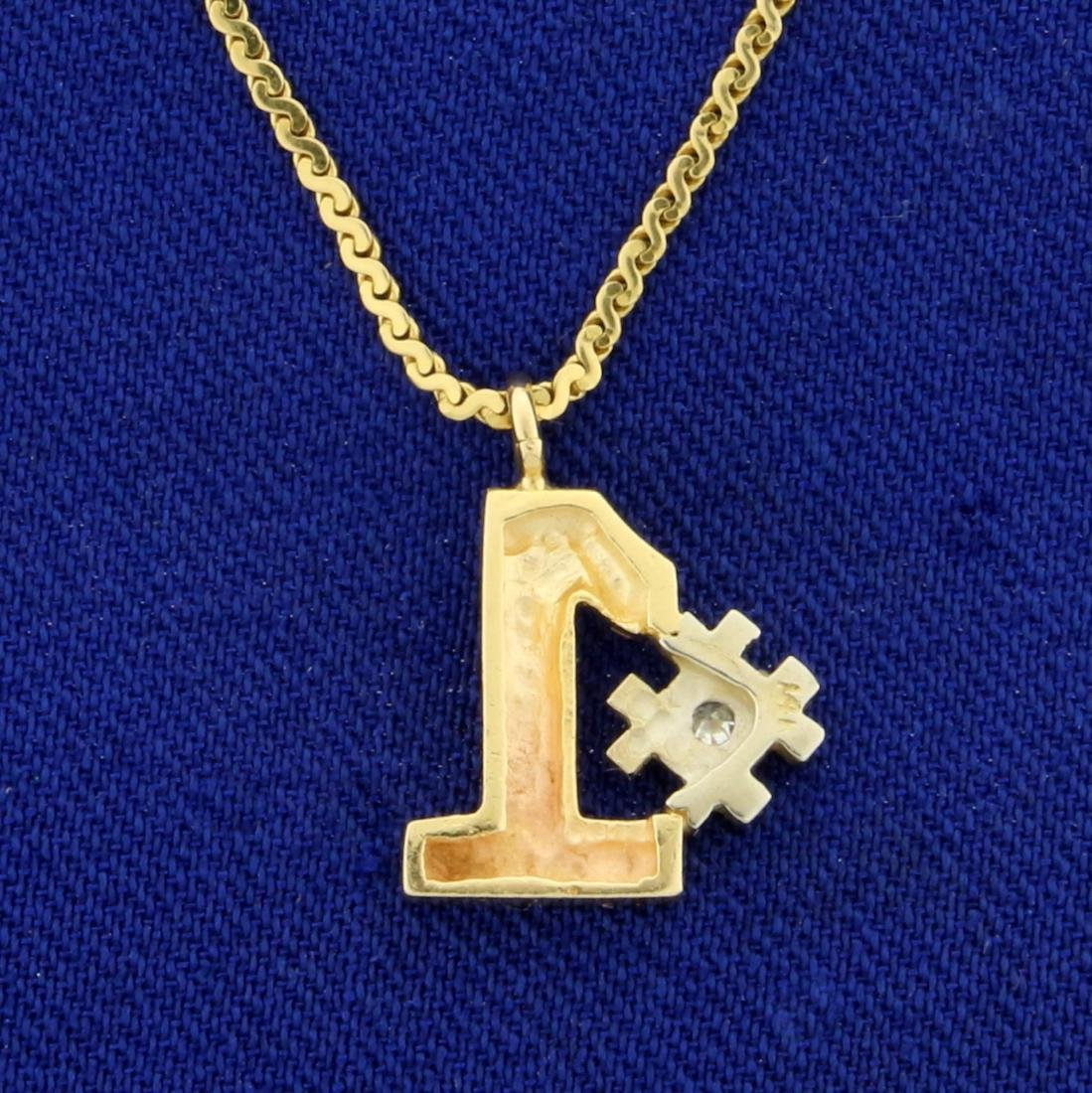 Italian Made Diamond #1 Pendant and S-Link Chain in 14K - 2