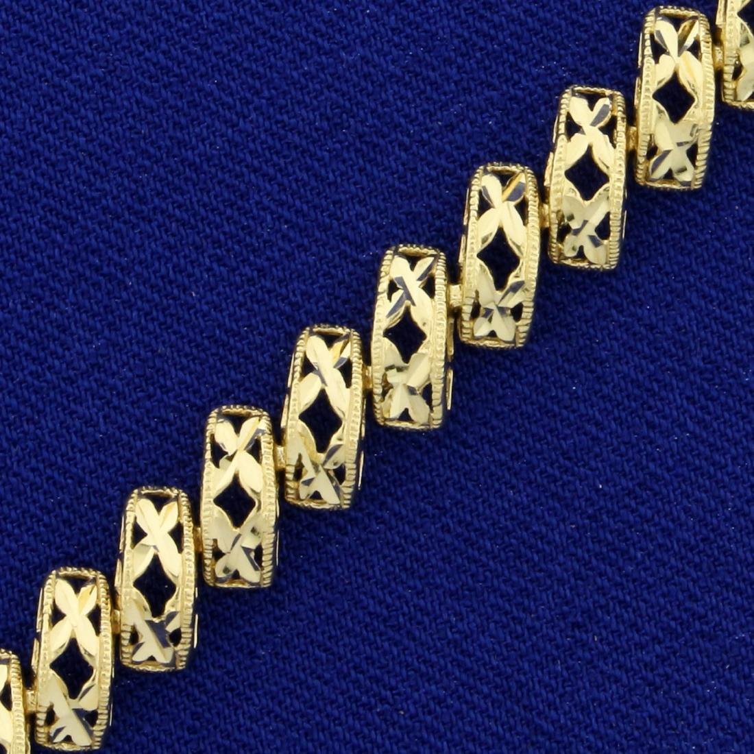 Designer Link Diamond Cut Bracelet in 14K Yellow Gold - 2