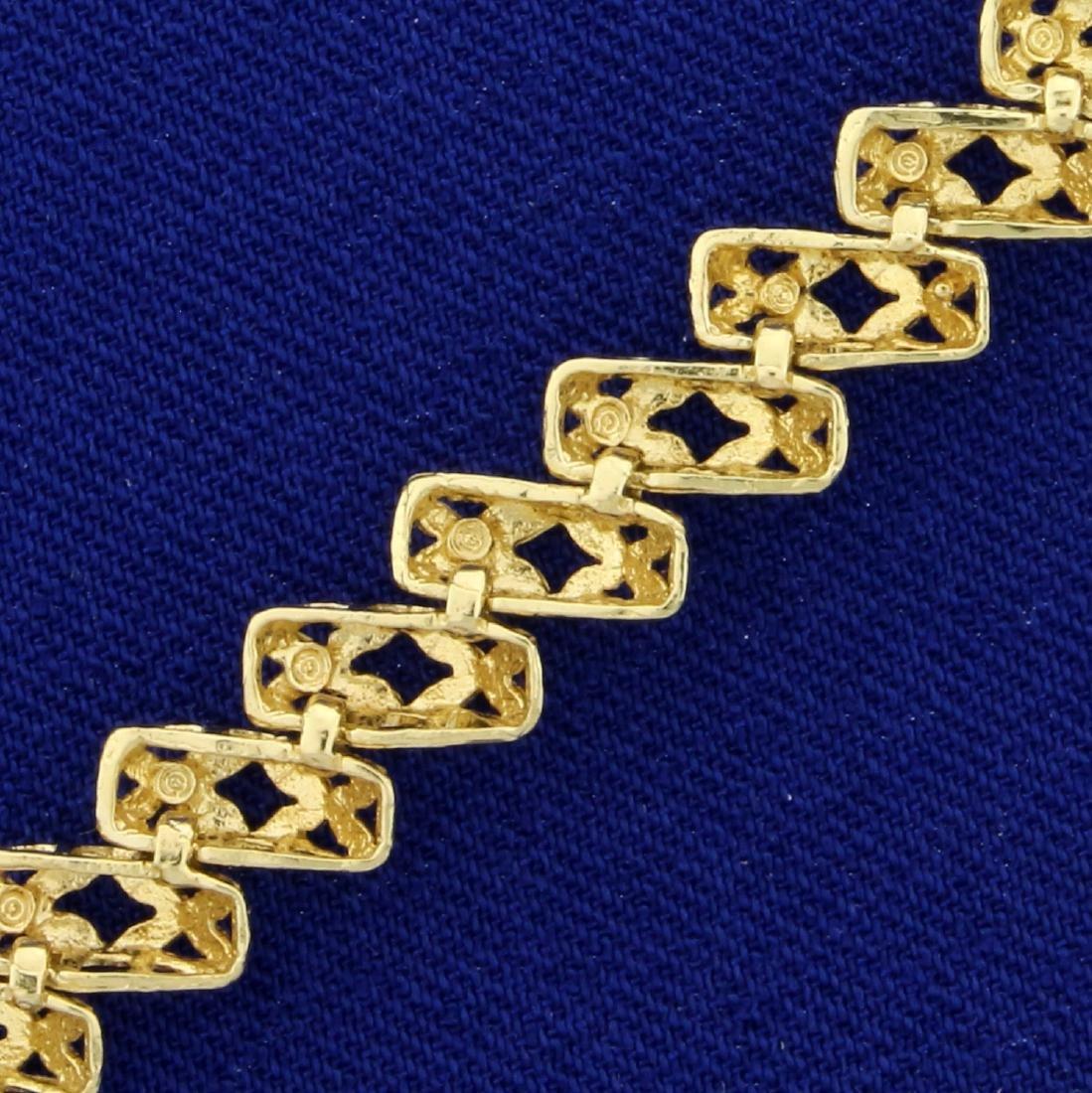 Designer Link Diamond Cut Bracelet in 14K Yellow Gold - 3